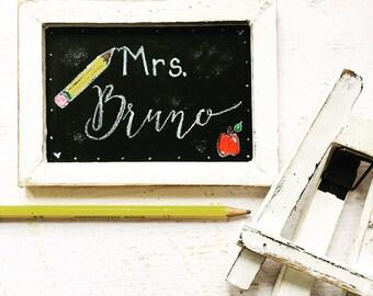 Personalized teacher gifts, Teacher appreciation gift, Custom Teacher Chalkboard sign, customized teacher thank you, small teacher gift