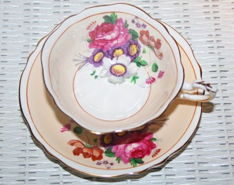 Vintage Paragon Teacup & Saucer Scalloped Edge 2 Tone Sandy Beige Large Pink and Purple Florals on Cup and Saucer