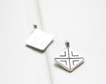 30pcs / Charm / Oxidized Silver Tone / Base Metal / Square (Y5002//C405)