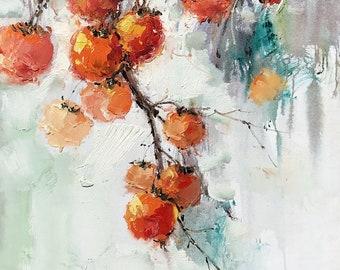 """Yuanjian Wang 203 27x54""""  Persimmon Friut tree"""