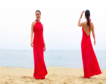 RED Halter open backless long maxi dress sun evening S M L XL