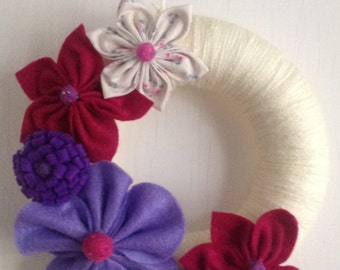 Handsewn felt flower garland wreath