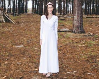 Isabelle Temple dress, lds temple dress, white maxi dress, wedding dress, long sleeved dress, crossover dress, comfortable dress
