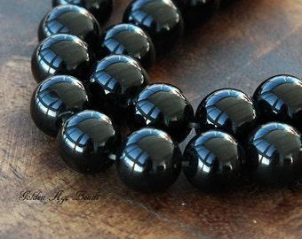 Black Agate Beads, 10mm Round - 15.5 Inch Strand - eGR-AG002-10