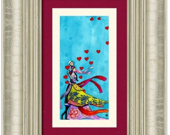 Jewish wedding gift 'Hope' **ORIGINAL Romantic Judaica wall art