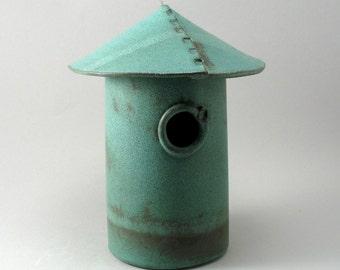Bird House, Ceramic Bird House, Garden Decor, Teal