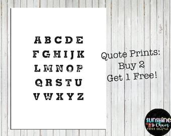 Alphabet Print, Alphabet, ABC Wall Art, Monochrome nursery, Monochrome alphabet, Nursery Art, Instant Download, Alphabet nursery print