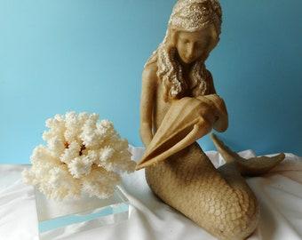 Stunning SeaShell Mermaid Statue Decor-Mermaid Art- Mermaid with Shells-Mermaid Decor-Mermaid Figurine-Coastal Mermaid