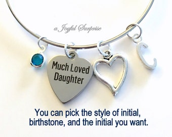 Daughter Bracelet, Gift for Daughter Jewelry, Silver Heart Charm Bangle, Much Loved Daughter Step Birthday Present initial letter birthstone