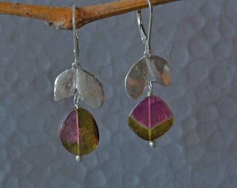 SALE, Watermelon Tourmaline Dangle Earrings, Botanical Gemstone Earrings with Pink and Green Tourmaline Slices,Tourmaline Earrings in Silver
