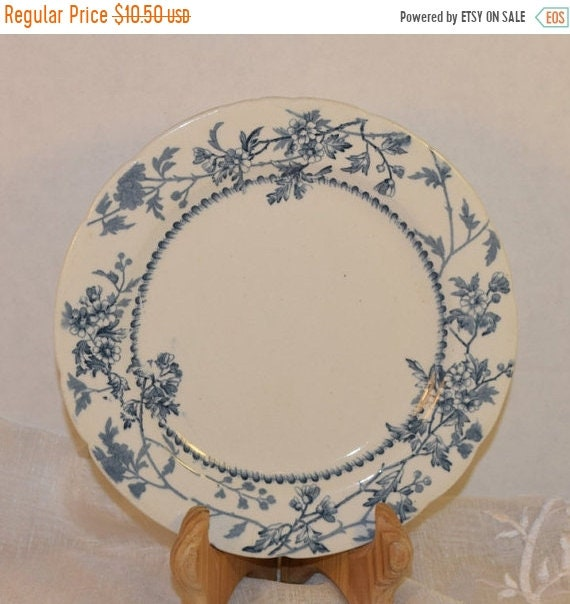 Delayed Shipping Garfield And Humphreys 1800s Lunch Plate Vintage Antique 1880s Blue and White Salad Plate Tunstall England G H Plate Victor