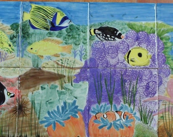 Tiled mural panel, under the sea