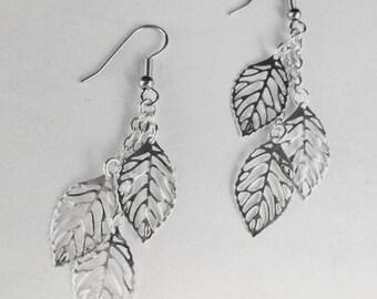 Leaf Earrings Silver Dangle