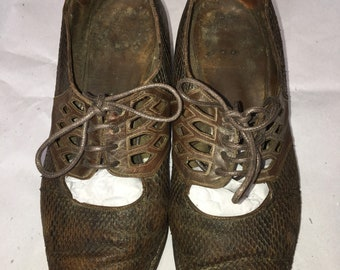 Womens c.1920 lizard skin Four-Eyelet hole oxford vintage shoes