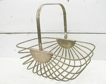Metal Wire Basket - Egg Basket - Flower Basket - Garden Basket - Basket for Gathering - Industrial Decor - Industrial Kitchen