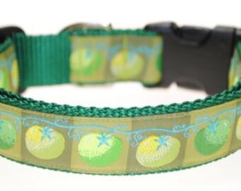 "Green Tomatoes 1"" Adjustable Dog Collar"