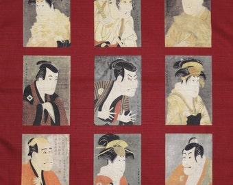 Furoshiki Cloth 'Sharaku Collection' Cotton Japanese Fabric w/Free Insured Shipping