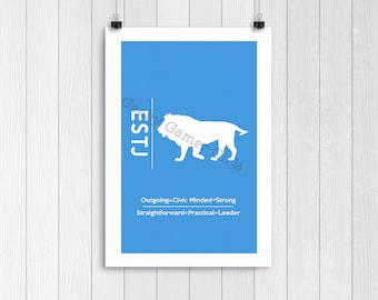 """ESTJ Minimalist Poster   Myers Briggs Poster   Personality Type Poster 11x17   """"The Executive"""""""