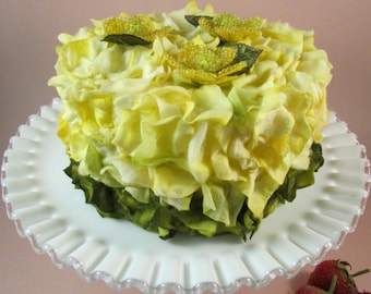 Fake Cake Birthday Cake Lemon Yellow Faux Flower Petal Cake with Beaded Flowers on the Top and a Layer of Green Petals