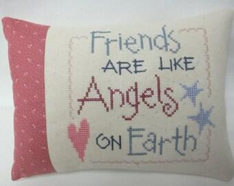 Friend Mini Pillow Cross Stitch Friends Are Like Angels Friend Gift