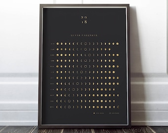 2018 Gold Lunar Moon Calendar, A3, A4, 16x20 Moon Phases Chart Yearly Wall Large Calendar DIY gift Instant Download Printable