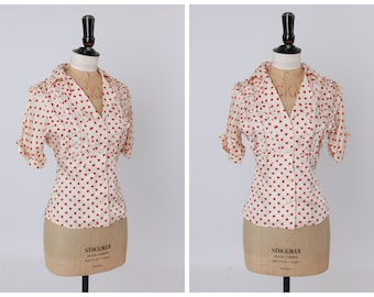 Vintage original 1970s 70s red and white spot print blouse by Mr Freedom UK 6 8 US 2 4 XS S