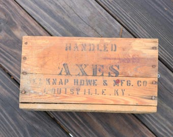 Vintage Belknap Blue Grass Axe box from Belknap Hardware 3 /2 lb Michigan Pattern Axe Blue Bevel