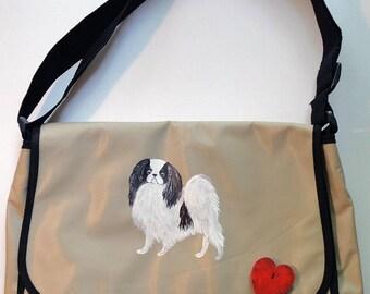 Japanese Chin Dog Hand Painted Messenger Bag