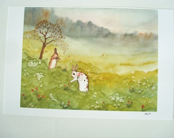 Woodland Art Decor - In the Meadow - Fine Art Rabbit Print