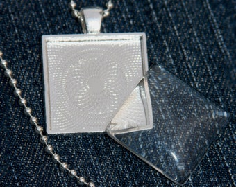 """Photo Jewelry DIY Kit - blank 1"""" square bezel pendant  tray setting with glass cabochon and chain - silver plated - set of 5 kits"""