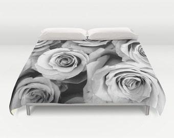 ROSES Duvet Cover, Black White Bedding, Flower bedding, Unique, Flower Comforter Cover, Twin, Full Queen, King, Retro, Vintage, Dorm, Drama