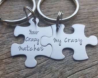 Your Crazy Matches My Crazy Couples Custom Puzzle Piece key Chain Set  Her One His Only anniversary gift for Him Personalized Deadpool