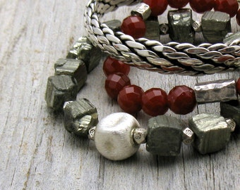 Chunky Pyrite Beaded Stretch Bracelet, Minimalist, Unisex Bracelet, Gift for Her or Him under 150, US Free Shipping