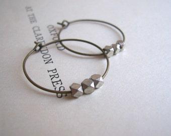 Silver and Bronze mixed metal hoop earrings - petite facetted beads - nickel free - SALE
