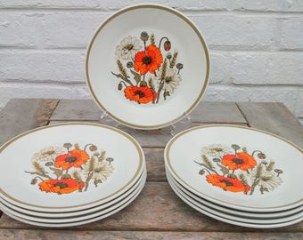 Set of 9 Vintage J and G Meakin Eve Midwinter 'Poppy' Design Side Plates