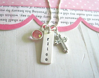 Hand Stamped Personalized Name Necklace-Communion, Baptism, Adoption, Gotcha Day ...Personalized Jewelry... Personalized Necklace