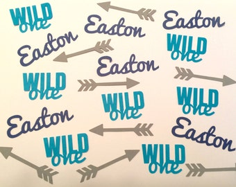 Personalized Wild One Confetti with Arrows- Your choice of name and color - First Birthday, Table Decor, Birthday Party
