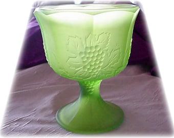 Satin Green Indiana Glass Compote Harvest Grape Pattern