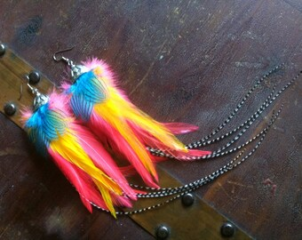 Bright Feather Earrings With Grizzly Feathers - Candy Land Pixie - Colorful Neon Feather Earings, Summer Jewelry Sale