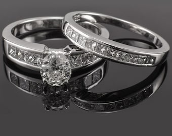 Platinum Diamond Engagement Ring Wedding Set Round & Princess 1.06 ctw