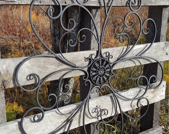 "30"" Large Metal Wall Art Black Wall Art Black wall decor Metal Headboard Wrought Iron Wall decor Wrought Iron Wall Art Metal Wall Decor"