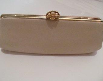 Antique  Vintage  Clutch  purse  -  hand bag -  Tan color -