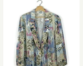 ON SALE Vintage Abstract Slouchy Cardigan/ Light Blazer  from 1980's*