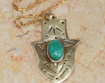 Brass Hamsa Necklace ,Brass Hamsa Pendant , Eilat Stone Jewelry, Hamsa Necklace ,Brass Pendant, Good Luck Jewelry, Brass Jewelry,