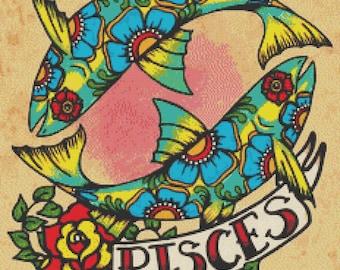 Cross Stitch Kit, Zodiac Cross Stitch, Illustrated Ink Art, Pisces Sign, Tattoo Cross Stitch Kit, Illustrated Ink, Zodiac Tattoo, Fish Art