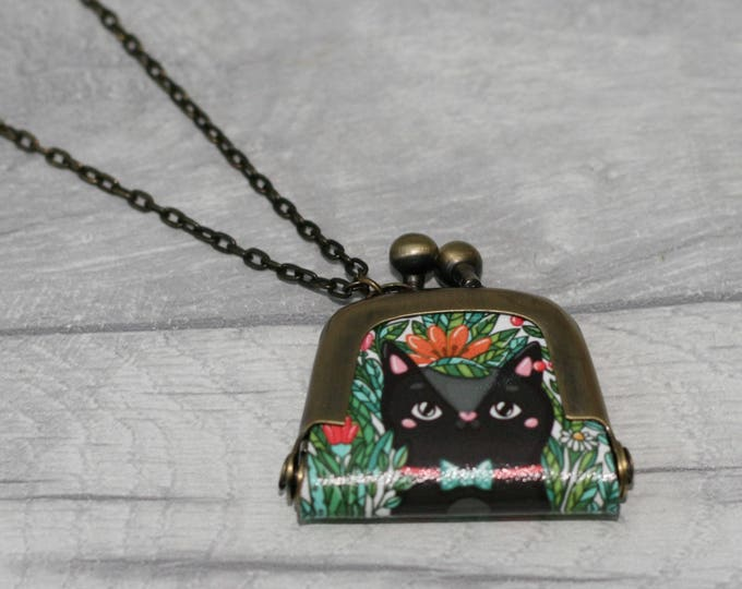 Black Cat Coin Purse Necklace, Animal Jewelry