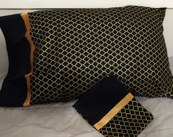 Gold and Black Pillowcase Set