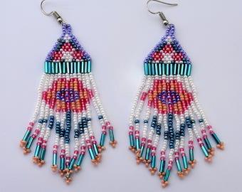Dangling beaded earrings,flower earrings,southwestern style earrings,seed bead earrings,bugle bead earrings,ethnic earrings