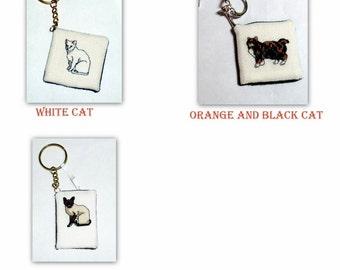 Cat Cross Stitch Keychains