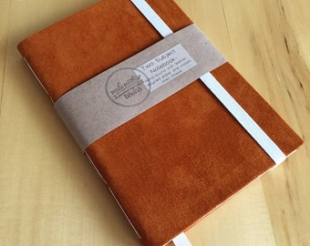 Leather and Cloth Two Subject Notebooks with Elastic Strap and Ribbon Bookmark